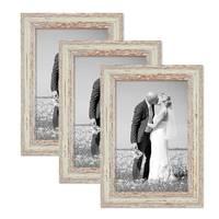 3er Set Bilderrahmen 20x30 cm Weiss Shabby-Chic Vintage Massivholz mit Glasscheibe und Zubehör / Fotorahmen / Nostalgierahmen  – Bild 1