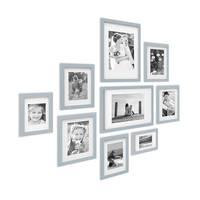 9er Bilderrahmen-Set Modern Tief Massivholz Grau mit Passepartout  / 10x15, 13x18, 15x20 und 21x30 cm / Fotorahmen / Portraitrahmen / Wechselrahmen