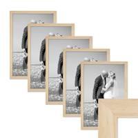 5er Bilderrahmen-Set 30x45 cm Kiefer Natur Modern Massivholz-Rahmen