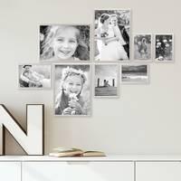 8er Set Alu-Bilderrahmen 10x15 bis 21x30 cm Modern Silber Aluminium-Rahmen mit Acrylglasscheibe inkl. Zubehör / Bildergalerie / Foto-Collage – Bild 2