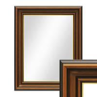 Wand-Spiegel 50x60 cm im Holzrahmen Antik Breit Dunkelbraun mit Goldkante / Spiegelfläche 40x50 cm