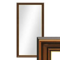 Wand-Spiegel 60x110 cm im Holzrahmen Antik Breit Dunkelbraun mit Goldkante / Spiegelfläche 50x100 cm