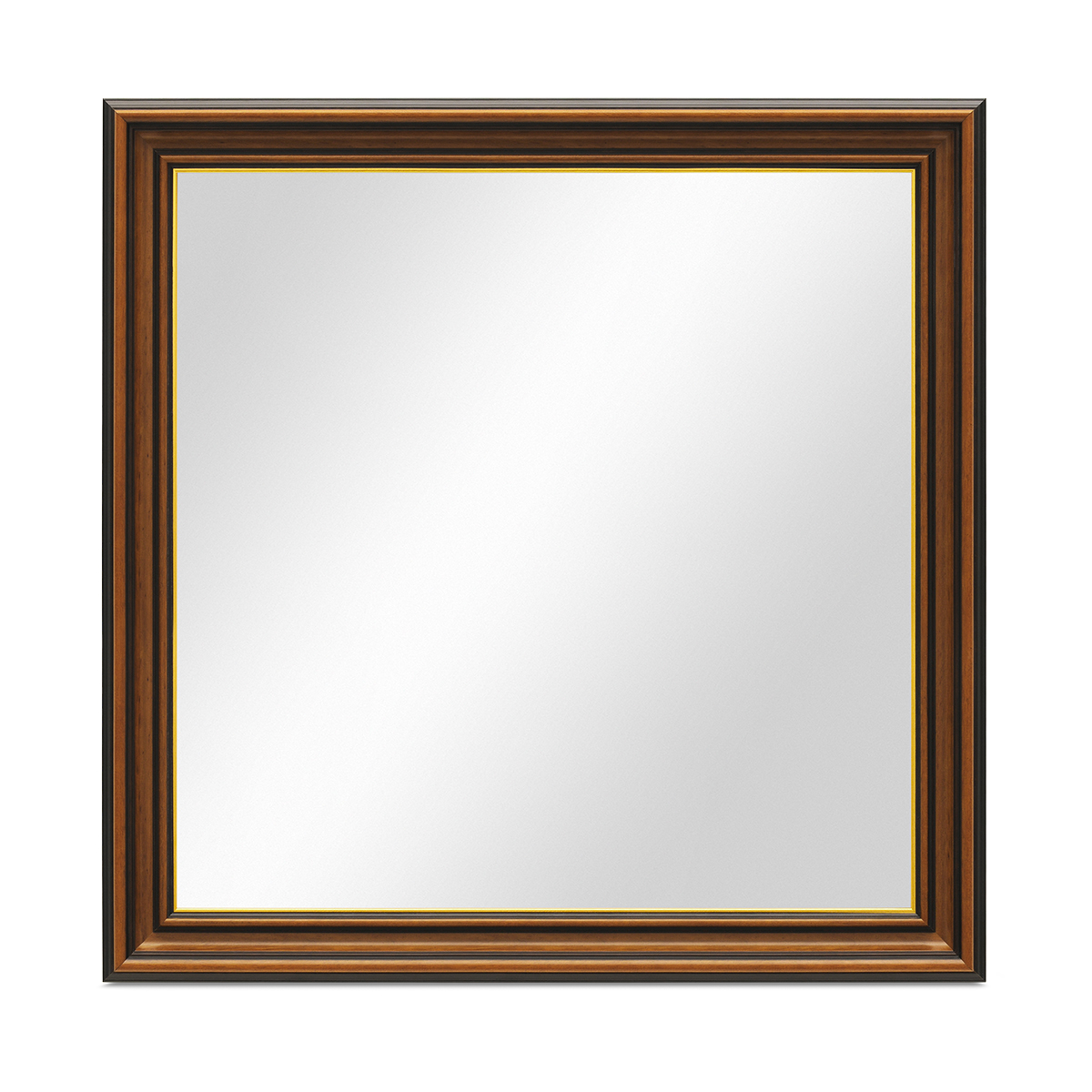 wand spiegel 70x70 cm im holzrahmen antik breit dunkelbraun mit goldkante quadratisch. Black Bedroom Furniture Sets. Home Design Ideas