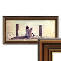 Panorama-Bilderrahmen 30x60 cm Antik Breit Dunkelbraun mit Goldkante
