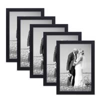 5er Set Bilderrahmen 21x30 cm / DIN A4 Schwarz Modern aus MDF mit Glasscheibe und Zubehör / Fotorahmen