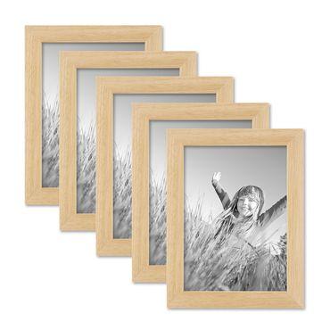 5er Set Bilderrahmen 13x18 cm Kiefer Natur Modern Massivholz-Rahmen mit Glasscheibe und Zubehör / Fotorahmen