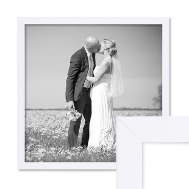 Bilderrahmen 50x50 cm Weiss Modern aus MDF mit Glasscheibe und Zubehör / Fotorahmen