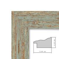Vintage Bilderrahmen 50x50 cm Grau-Grün Shabby-Chic Massivholz mit Glasscheibe und Zubehör / Fotorahmen / Nostalgierahmen  – Bild 3