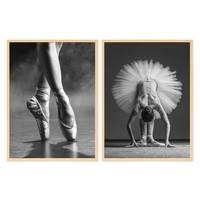 2er Set Poster Ballerina Posen 30x40 cm mit Bilderrahmen Natur