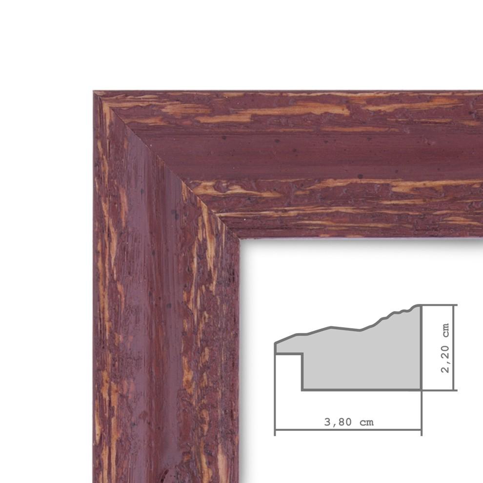 bilderrahmen 60x80 cm holz rot braun shabby chic vintage massivholz m acrylglas inkl zubeh r. Black Bedroom Furniture Sets. Home Design Ideas