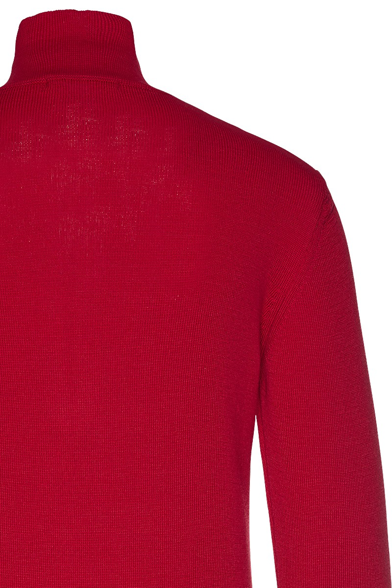Turtleneck knit zip merino