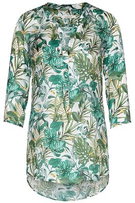 Silk tunic blouse jungle print
