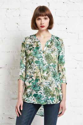 Silk tunic blouse jungle print