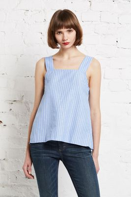 Cotton linen stripe top