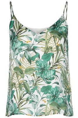 Silk spaghetti top jungle pr.