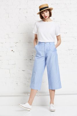 Cotton linen stripe culotte