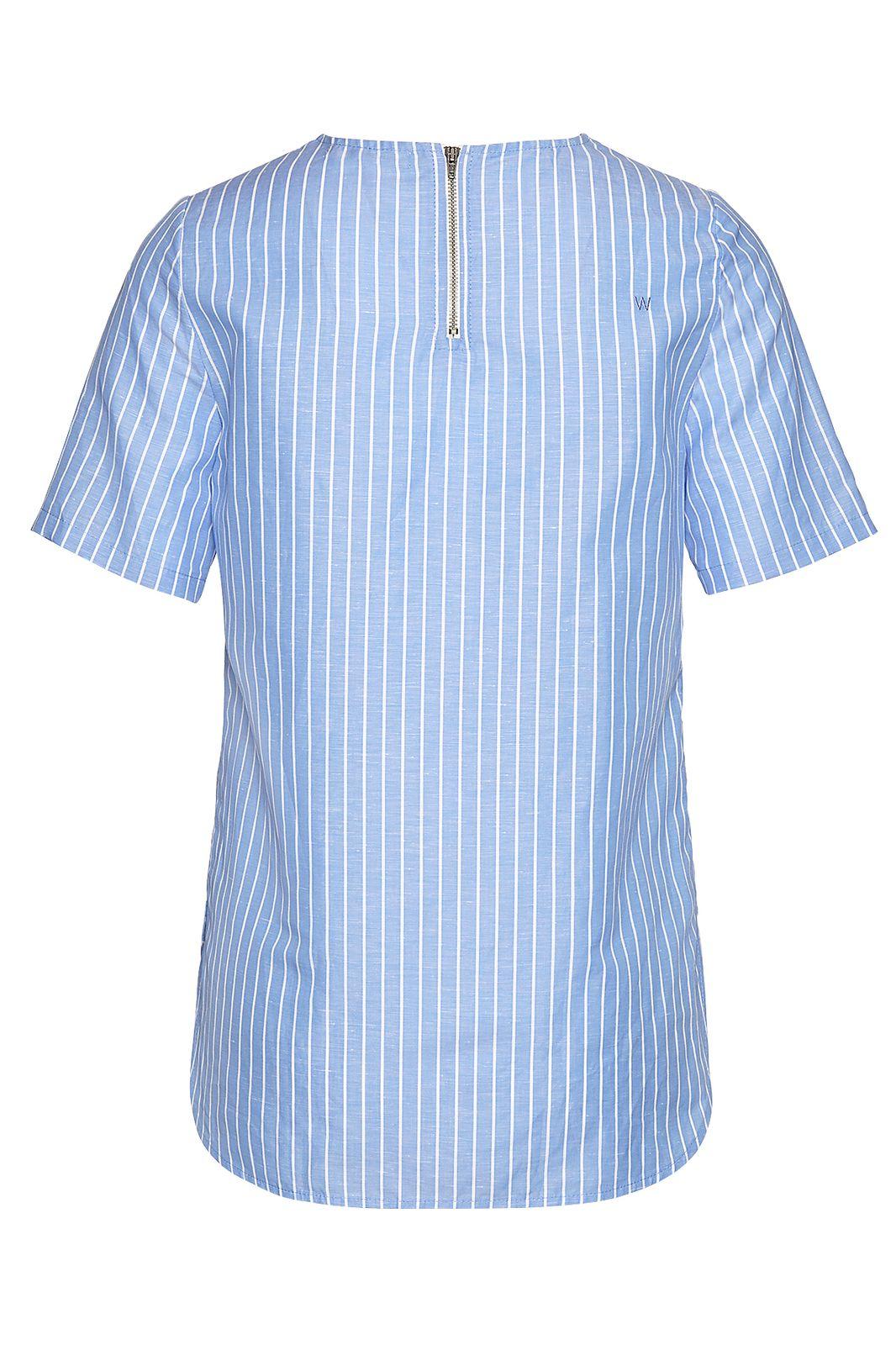 Cotton linen stripe tee blouse