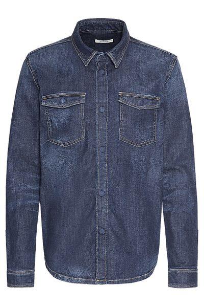 Heavy duty denim shirt jacket