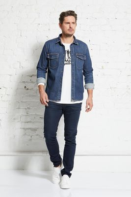 Heavy duty denim shirt jacket