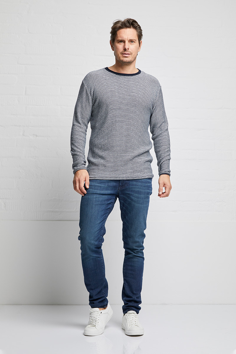 Crewknit open edge stripe male