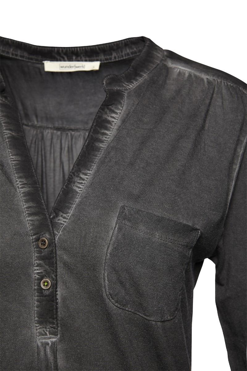 Henley blouse fabricmix 3/4