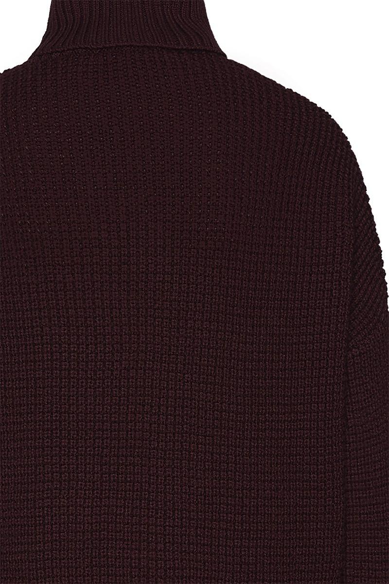 Roll neck waffle knit