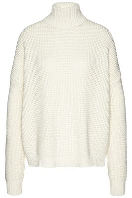 Roll neck waffle knit