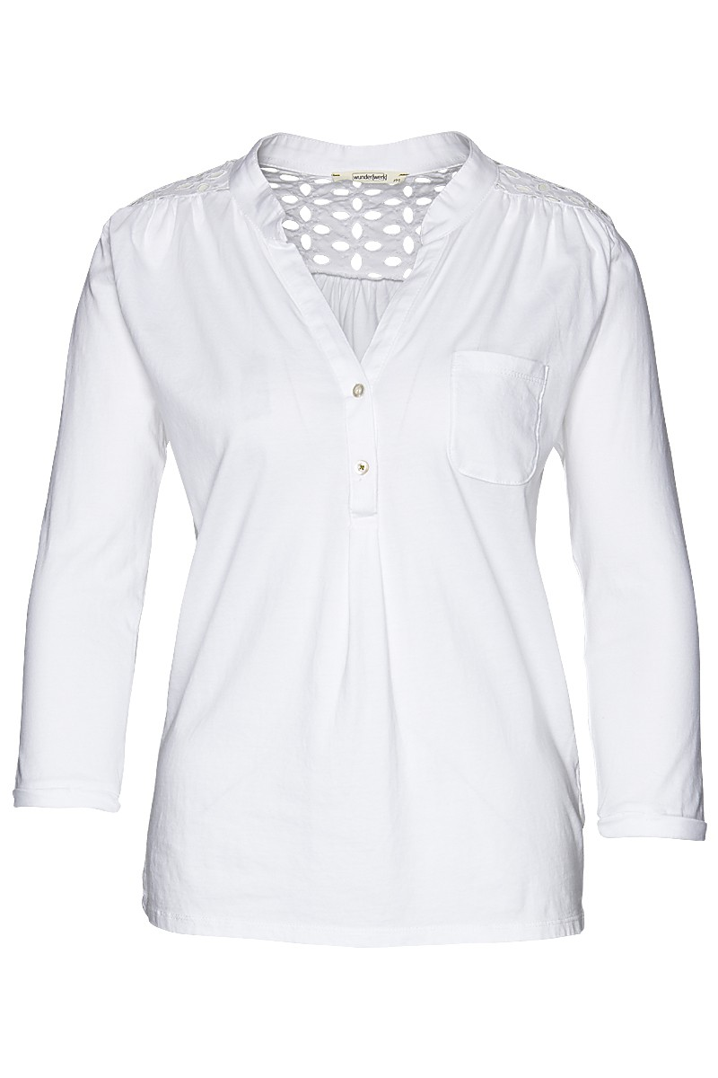 Broidery anglaise henley blous