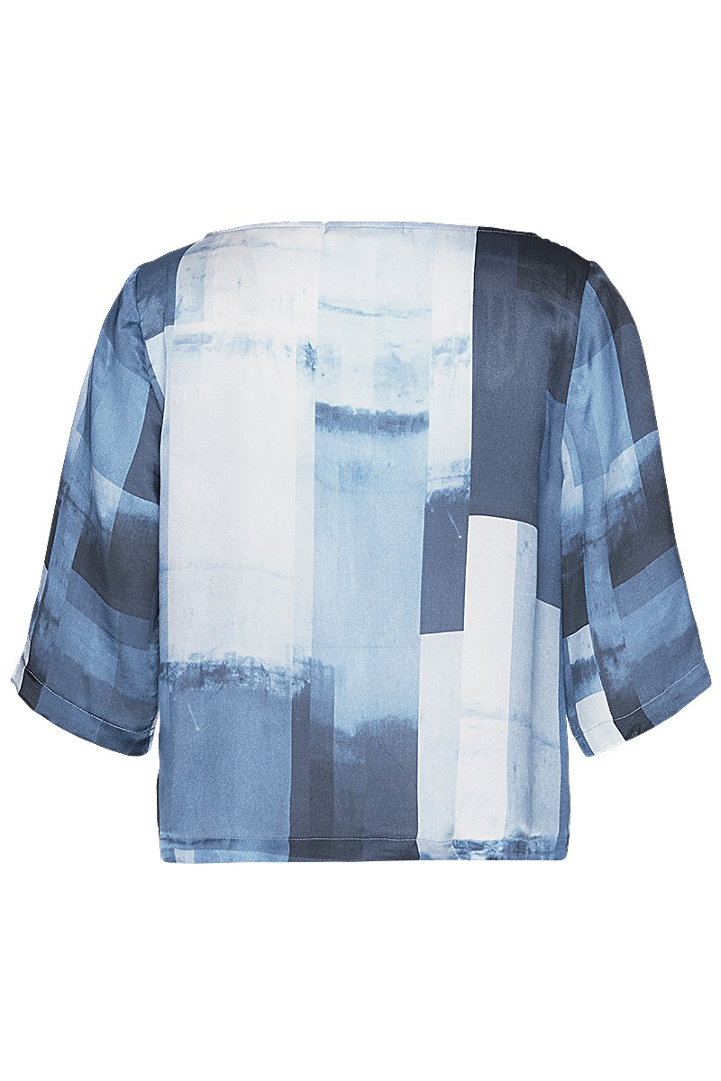 Silk T-blouse cropped fading