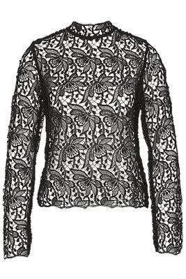 Royal lace turtle neck blouse