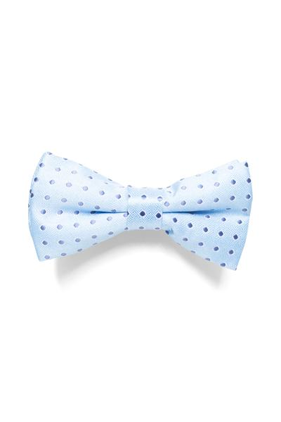 Pastel blue bow tie with polka dot design