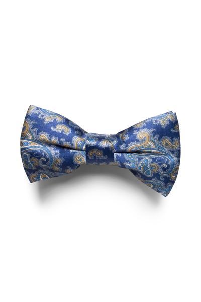 Blue Oriental style bow tie