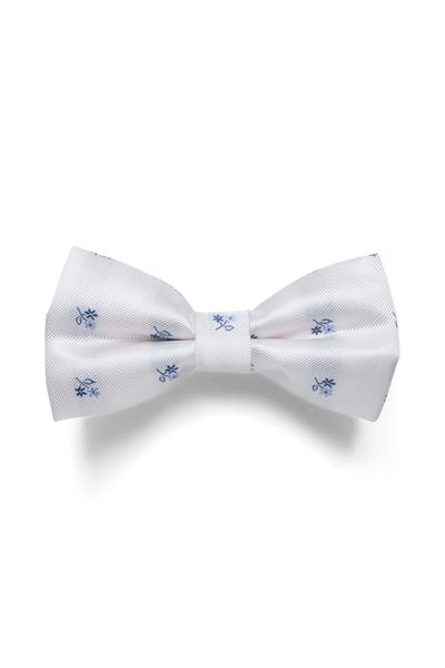 White bow tie with blue accents