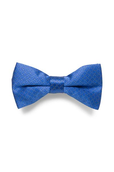 Blue bow tie with discreet check pattern