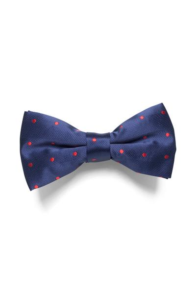 Dark blue bow tie with noble shine