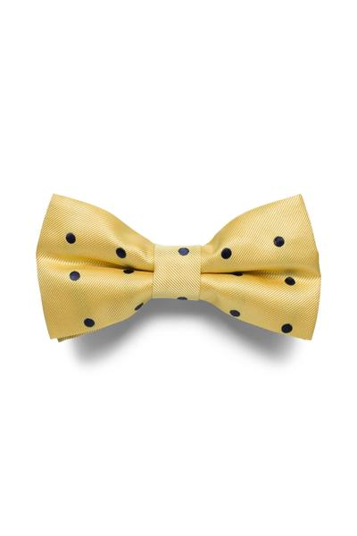 Sand yellow bow tie with polka dot design