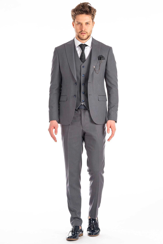 Alltagsanzug Grau mit blauen Knöpfen (Slim-Fit)