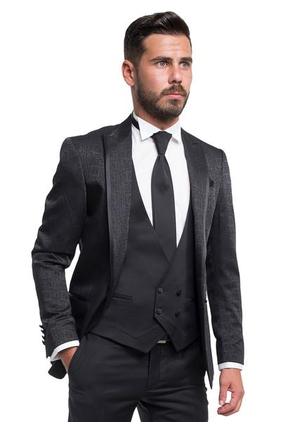 Groom suit with square pattern