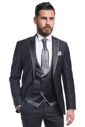 Groom suit with plain pattern 001