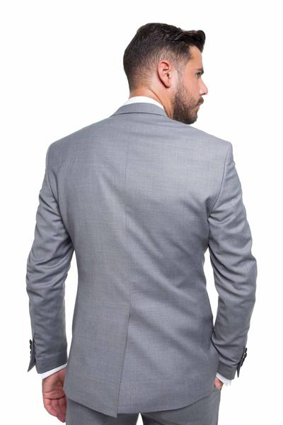 Groom suit with a shiny collar