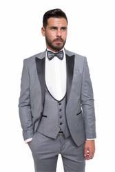 Bräutigamanzug Vierteiler mit glänzendem Kragen