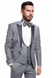 Groom suit with a shiny collar 001