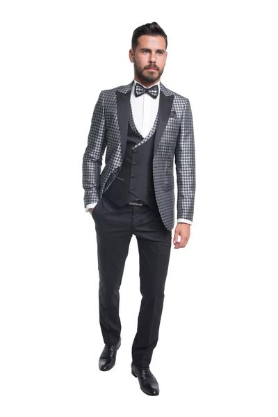 Groom suit with black/silver pattern