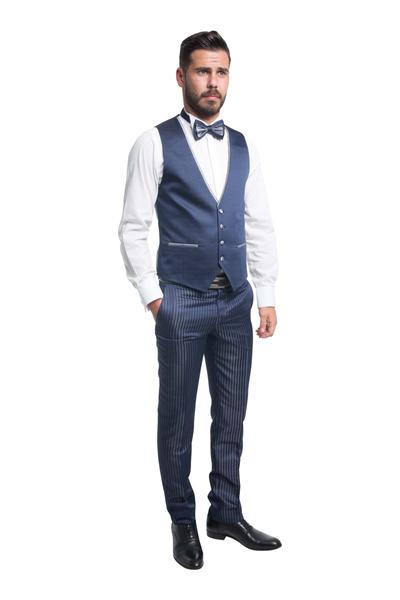 Bräutigamanzug Vierteiler Nachtblau dezent gestreift