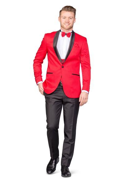 Bräutigamanzug Vierteiler Rot Glänzend