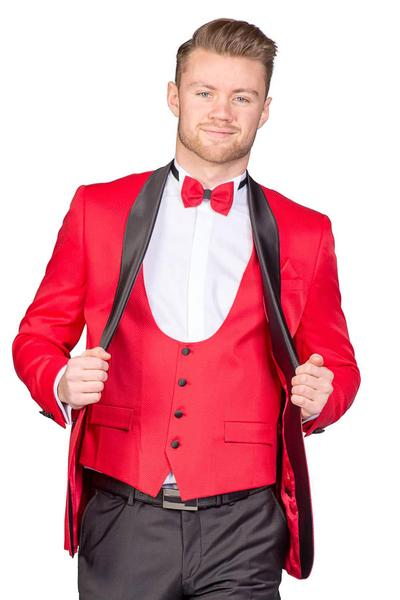 Shiny groom suit in red