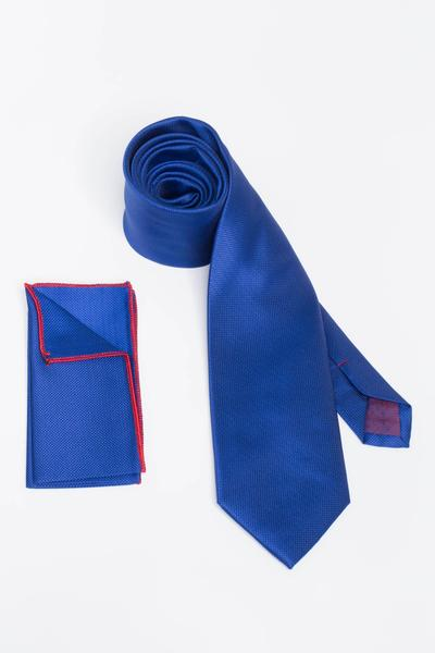 Needle head patterned tie in blue colour