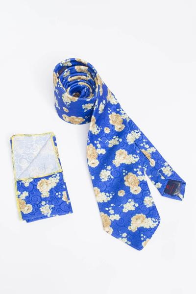 Lace-up men's tie with floral pattern