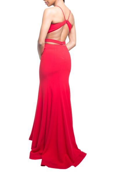 Refined evening dress with fashionable cut-outs