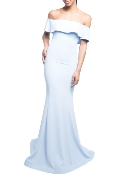 Simple evening dress with a special neckline